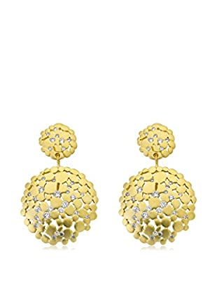 Riccova Retro Circle Cluster Earrings Studded with CZs, Gold