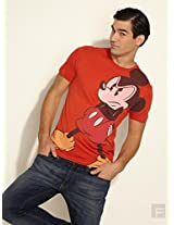 Angry Mickey Mouse Print Tee-Red-S