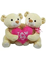 Archies Soft Toy Couple Bear with Heart, Multi Color (22cm)