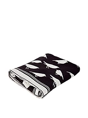 Torre & Tagus Bird Jacquard Cotton Throw, White/Black