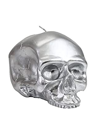 D.L. & Co. Medium Silver Skull Metallic Candle