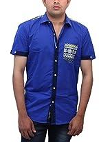 Romano Men's Blue Cotton Shirt