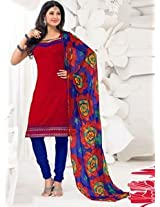 Saara Red And Blue Embroidered Dress Material - 148D6017