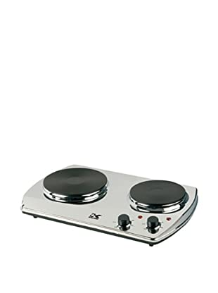 Kalorik 1400-Watt Portable Chrome Burner with 2 Cast Iron Cooking Plates