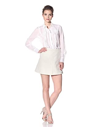 Nina Ricci Women's Button-Up Top with Lace Trim (White)