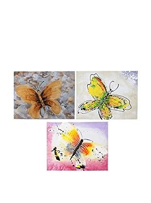 ENCUENTRA TU ESTILO Leinwandbild 3 er Set Butterflies