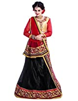 Manvaa Black And Red Net Embroidered Lehenga