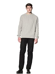Cruciani Men's  Crew Cable Knit Sweater (Opal)
