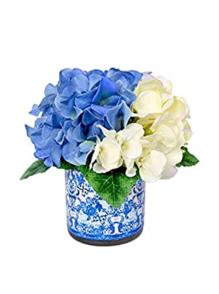 Creative Displays Inc. Mixed Hydrangea Bouquet Decoupage Pot, White/Blue