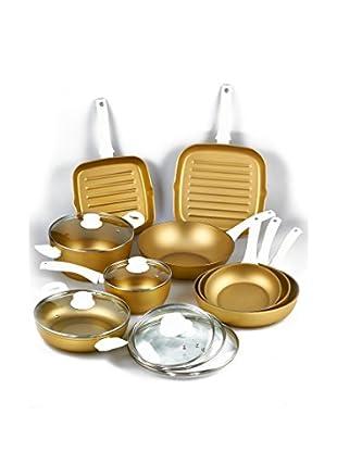 Stonegold Topf- und Pfannen-Set, 9 tlg. gold/weiß