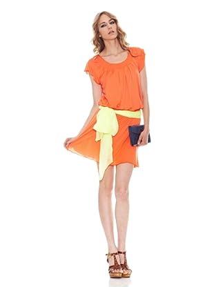 Salsa Vestido Básico Vaporoso (Naranja)