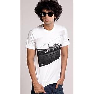 Adidas White Half Sleeves Men - Non-collared T-shirt