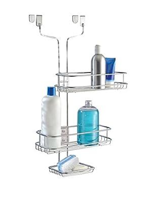 InterDesign Linea Adjustable Over Door Shower Caddy, Silver