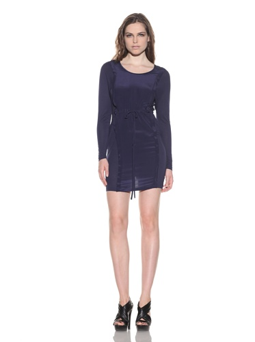 under.ligne by Doo.Ri Women's Silk Panel Long Sleeve Dress (Navy)