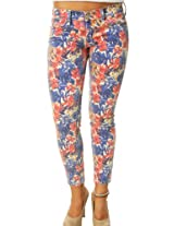 Lucky Brand Women's Low Rise Capri Jeans Flower Pattern Blue & Pink-28X26