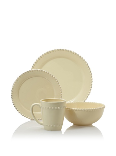 American Atelier Bianca Bead 16-Piece Dinnerware Set, Cream