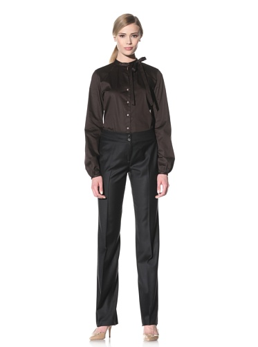 Luciano Barbera Women's Button-Up Shirt with Banded Collar and Tie (Brown)