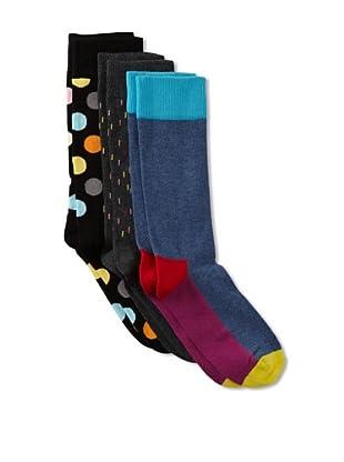 Happy Socks Men's Multi Socks (3 Pairs) (Blue/Grey/Black)