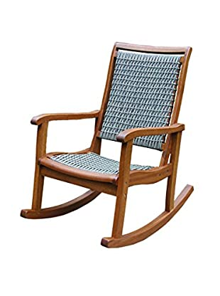 Outdoor Interiors Eucalyptus & Wicker Rocking Chair, Brown/Grey