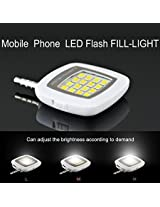 Santech Branded Selfie Flash Light White : 3.5mm pin jack 16 LED flash light with Three levels of brightness to click selfies / LED Selfie Flash Rechargeable Dimmable Light (Color May Vary) for Samsung Guru 1205