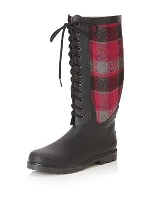 Chooka Women's Berry Wool Plaid Rain Boot (Berry)