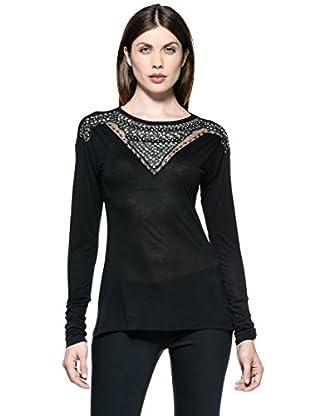 Annarita N Camiseta Ricamo (Negro)