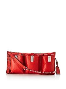 Gryson Women's Riley Spiked Chain Solid Triple Pocket Cross-Body (Red)