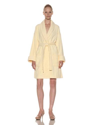 Aegean Apparel Women's Zero Twist Terry Loop Robe (Yellow)