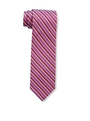 Bruno Piattelli Men's Stripe Silk Tie, Red