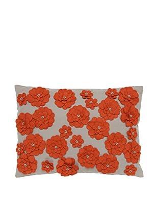 Cloud 9 Felt Daisy Lumbar Pillow, Beige/Orange
