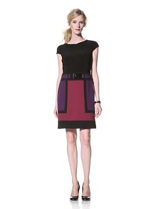Chetta B Women's Short Sleeve Colorblock Dress (Raspberry/Multi)