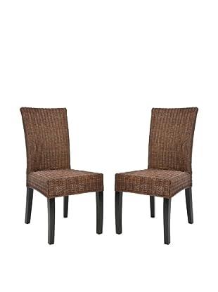 Safavieh Set of 2 Grayton Side Chairs, Dark Brown