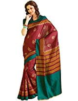 Orbymart Exclusive Designer Raw Silk Multi Colour Printed Saree - 55254666