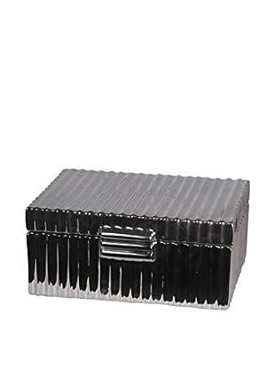 Privilege, Inc. Ceramic Metallic Silver Jewel Box, Chrome