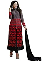 Clickedia Women's Georgette Striaght cut with center cut zip Churidaar Suit- Dress Material