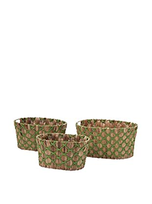 Set of 3 Nina Weave Baskets, Natural/Green