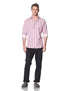 XMI Men's Multi Stripe Yarn Dye Button-Front Shirt (Burgundy)