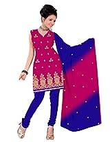 vardhman Rani Chanderi Straight Dupata Work Dressmaterial Suit.