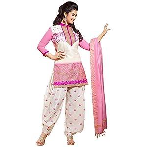 Ayesha Takia White & Pink Cotton Top With Cotton Bottom & Silk Dupatta Printed Work & Embroidery Unstitched Punjabi Patiala Salwar Kameez Suit