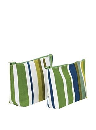RockFlowerPaper Sunrise Stripe Blue Zip Bags (Set of 2)