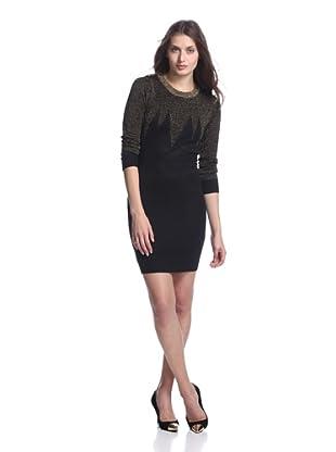 Junk Dresses Women's Jagged Edge Sweater Dress (Black/Gold)