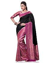 Meghdoot Women's Traditional Kanchipuram Spun Silk Saree Black and Pink Colour Sari