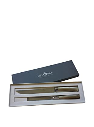 Del Ben Blond Buffalo Horn Handle Carving Set with Gift Box
