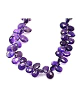 One Natural Purple Amethyst Quartz Pear Shape Gemstone Beads String Strand