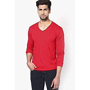 Red Solid V Neck T-shirts Phosphorus