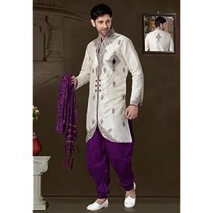 Utsav Fashion MCD1869 Indo-Western Suit - Off-White & Purple