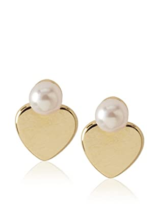 Frida Girl Gold and Pink Heart Pearl Studs