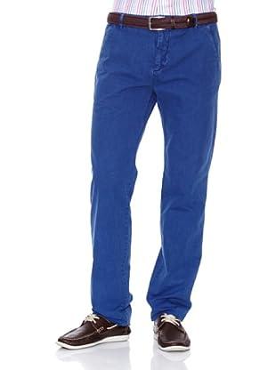 Cortefiel Pantalón Algodón Lino Ppt (Azul)