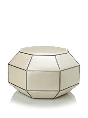 Shine by S.H.O Faceted Ottoman (Pearl/Pewter)