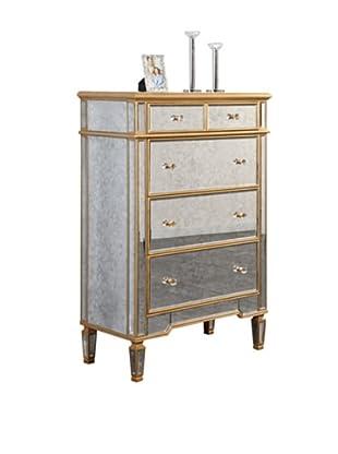 Florentine 5-Drawer Cabinet, Gold Leaf/Antique Mirror